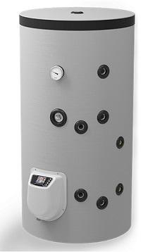 150 L fritstående combi varmtvandsbeholder med 1 spiral, elpatron og elektronisk kontrol