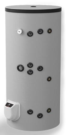 300 L fritstående combi vandvarmer med 2 spiraler, elpatron og elektronisk kontrol